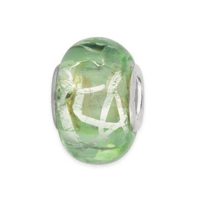 Personality Sterling Silver Green and Foil Swirl Glass Bead Charm