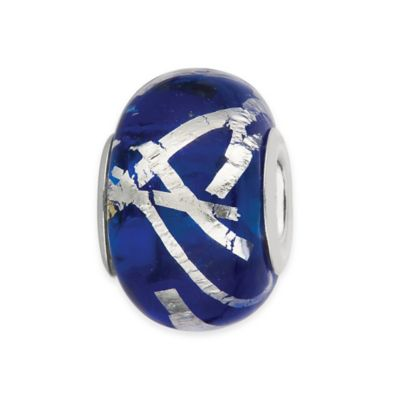 Personality Sterling Silver Royal Blue and Foil Swirl Glass Bead Charm