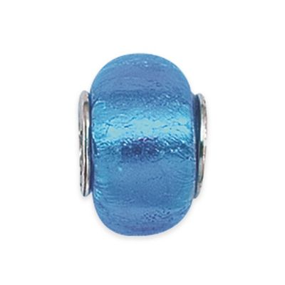 Personality Sterling Silver Blue Foil Glass Bead Charm