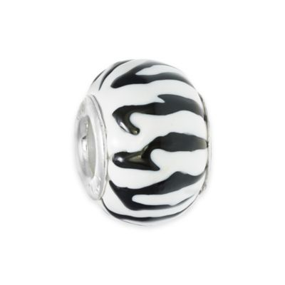 Personality Sterling Silver Enamel Black and White Animal Print Glass Bead Charm
