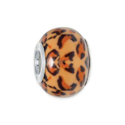 Personality Sterling Silver Enamel Tiger Print Glass Bead Charm
