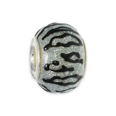 Personality Sterling Silver Enamel Black and Silver Animal Print Glass Bead Charm