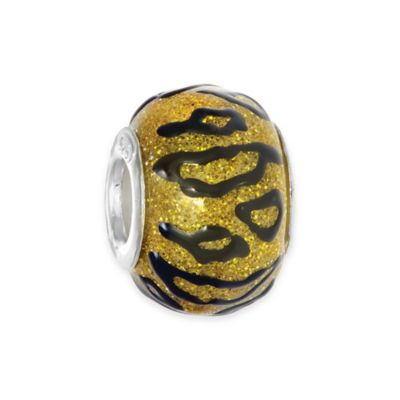 Personality Sterling Silver Enamel Black and Gold Animal Print Glass Bead Charm