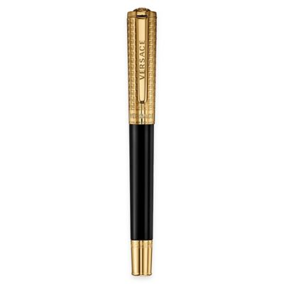 Versace Olympia Ion-Plated Yellow Gold Engraved Roller Ball Pen in Black