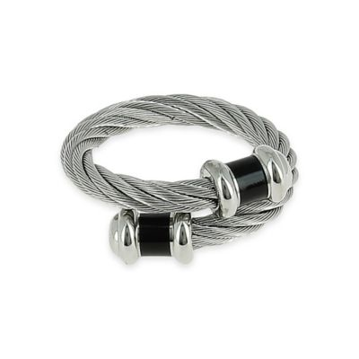 Charriol Stainless Steel Cable Adjustable Ladies' Celtic Double Godrons Ring