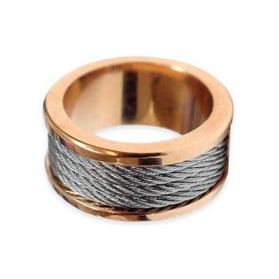 Charriol Rose PVD Stainless Steel Size 6.75 Ladies' Forever Inlaid Cable Ring