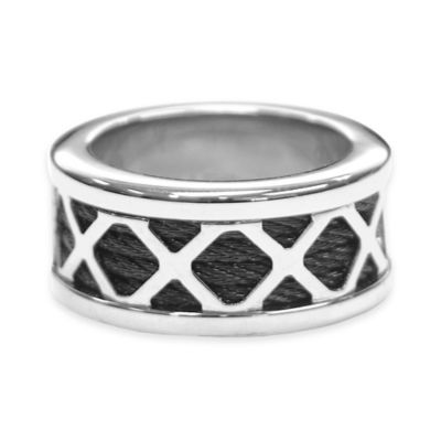 Charriol Black PVD and Silvertone Stainless Steel Size 6.75 Ladies' Forever X Ring