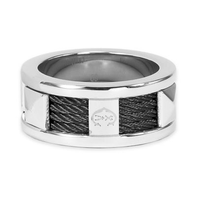 Charriol Stainless Steel and Black PVD Cable Size 10.5 Ladies' Forever Ring