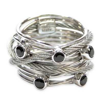 Charriol Stainless Steel Cable and Black Spinel Size 6.75 Ladies' Tango Ring
