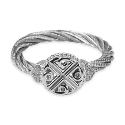 Charriol Stainless Steel .008 cttw Diamond Size 6 Ladies' Lock and Key Celtic Ring