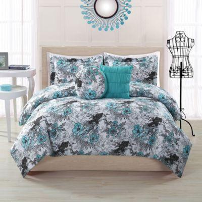 Peony Twin Comforter Set in Aqua