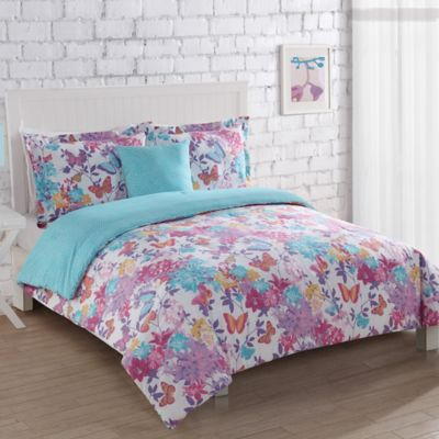 Butterfly Winds 3-Piece Full/Queen Comforter Set in White