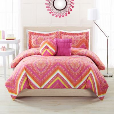 Gypsy Chevron 4-5 Piece Twin Comforter Set in Coral