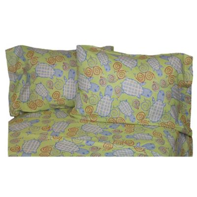 Belle Epoque La Rochelle Collection Turtle Snails Heather Print Flannel Twin Sheet Set in Sage