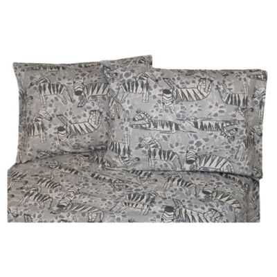 Belle Epoque La Rochelle Collection Zebra Print Heathered Flannel California King Sheet Set in Grey