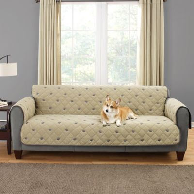 Sure Fit® Deluxe Embroidered Pet Sofa Cover in Tan