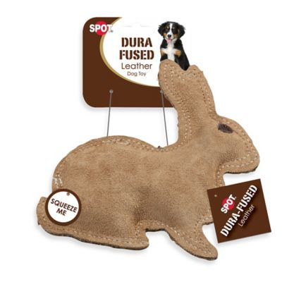 Dura-Fuse Leather Rabbit Squeaker Dog Toy in Brown