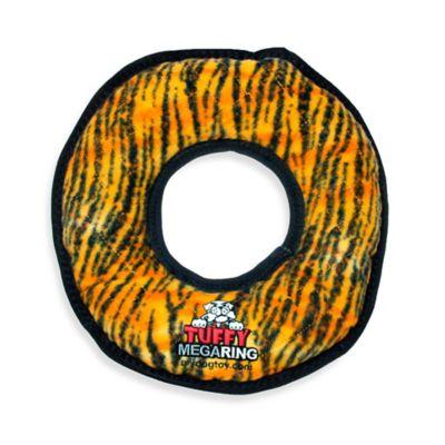 Tuffy® Mega Ring Squeaker Dog Toy in Orange Tiger Print