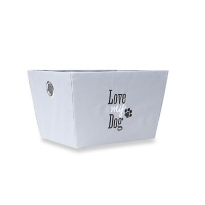 "16-Inch "" Love My Dog"" Storage Bin in Grey"