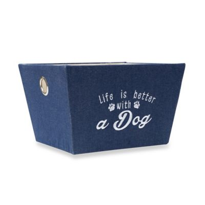"16-Inch ""Life is Better with a Dog"" Storage Bin in Blue"