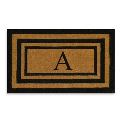 "Imperial 24-Inch x 39-inch Triple Border Monogram Letter ""A"" Door Mat in Natural/Black"