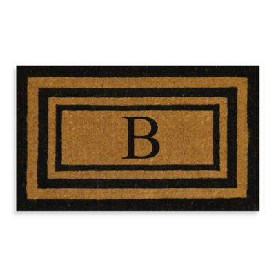 "Imperial 30-Inch x 48-inch Triple Border Monogram Letter ""B"" Door Mat in Natural/Black"