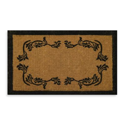 Imperial Leaf Border 30-Inch x 18-Inch Doormat in Beige/Black