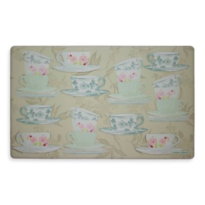 Laura Ashley® Tea Party 32-Inch x 20-Inch Memory Foam Kitchen Mat in Grey