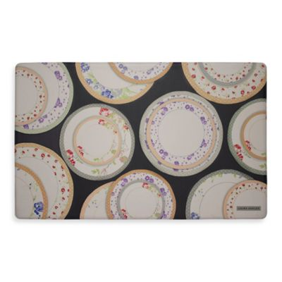 Laura Ashley® Tea Plates 20-Inch x 30-Inch Memory Foam Kitchen Mat in Black