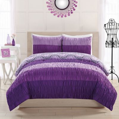 17 Essentials Colorfall Ruching 4-Piece Twin Comforter Set in Purple