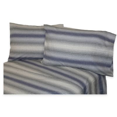 Belle Epoque La Rochelle Collection Striped Heathered Flannel Twin Sheet Set in Blue/Grey