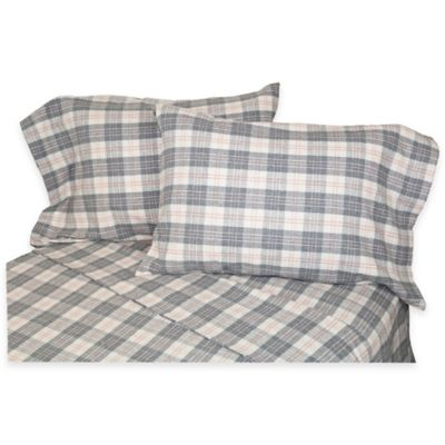 Belle Epoque La Rochelle Collection Plaid Heathered Flannel Full Sheet Set in Grey/Rose