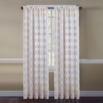 Cape Cod Rope Knot 63-Inch Rod Pocket Embroidered Window Curtain Panel
