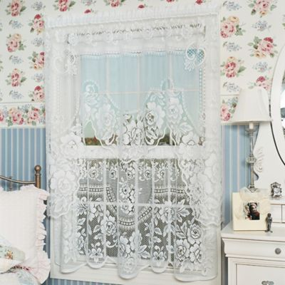 Heritage Lace® Victorian Rose 30-Inch Window Curtain Tier Pair in White