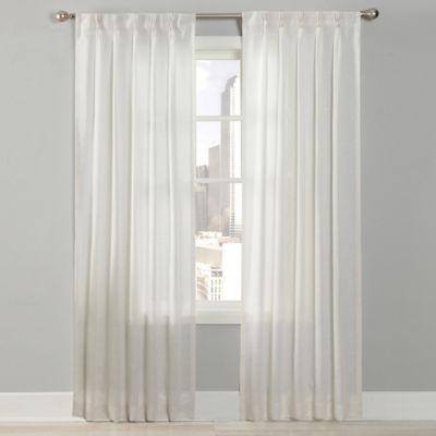 Splendor 63-Inch Grommet Glide Pinch Pleat Sheer Window Curtain Panel in White