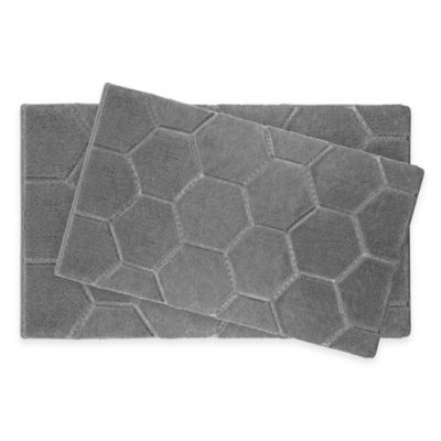 Pearl Honeycomb Bath Rug in Grey