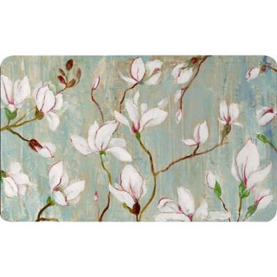 Soothing Chef 36-Inch x 20-Inch White Blossoms Anti-Fatigue Kitchen Mat