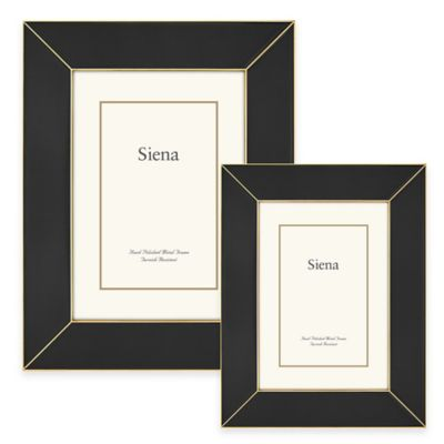 Siena Metallics 5-Inch x 7-Inch Wide Deco Enamel Frame in Black/Gold