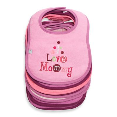 "Frenchie Mini Couture 7-Pack ""I Love"" Bibs in Pink"