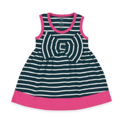 Baby Vision Hudson Baby Size 9-12M Striped Sleeveless Dress with Big Bow in Navy/White/Pink
