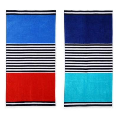 Color Block Beach Towel in Blue