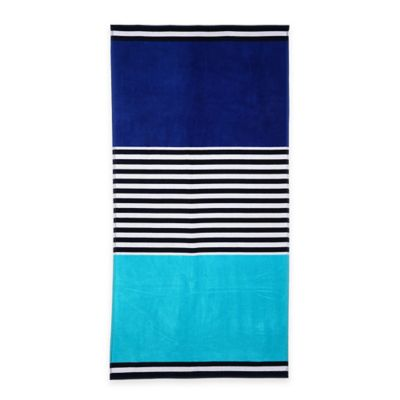 Color Block Oversized Beach Towel in Blue