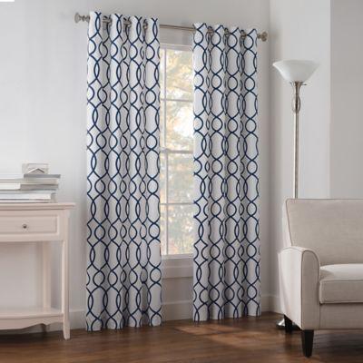 Newport Wave 63-Inch Grommet Top Window Curtain Panel in Peacoat