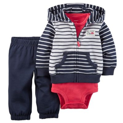 carter's® Size 6M 3-Piece Stripe Cardigan, Bodysuit, and Pant Set in Navy/Red