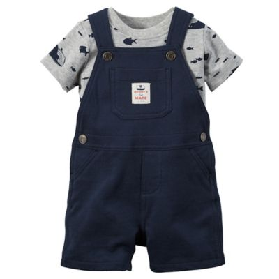 carter's® Size 18M 2-Piece Fish Shirt and Shortalls Set in Navy