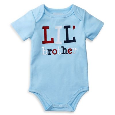 """Mud Pie® Size 3M """"Lil Brother"""" Embroidered Bodysuit in Light Blue"""
