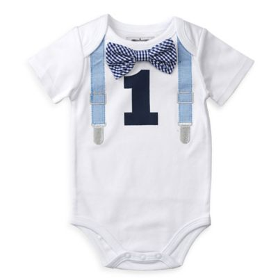 Mud Pie® Size 9M 1st Birthday Bodysuit in White