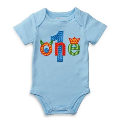 Mud Pie® Size 9M 1st Birthday Monster Bodysuit in Light Blue