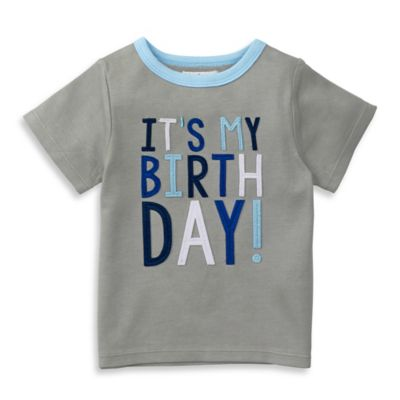 "Mud Pie® Size 12-18M ""It's My Birthday"" Shirt in Grey"