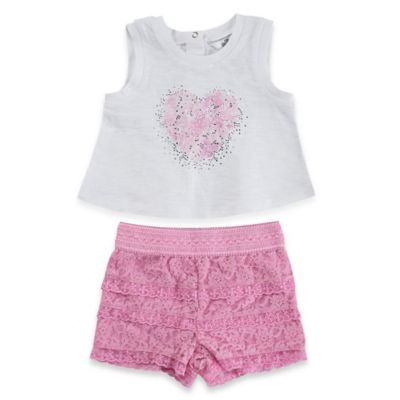 Guess® Size 12M 2-Piece Floral Glitter Heart Tank Top and Lace Short Set in Pink/White